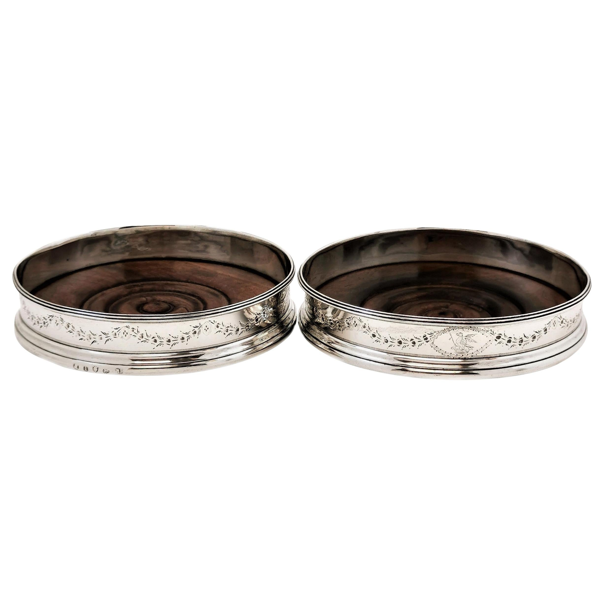 Pair of Antique Georgian Sterling Silver Silver Wine Bottle Coasters, 1786