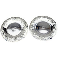 Pair of Antique Georgian Sterling Silver Wine Coasters, John Wilmin Figg, 1836