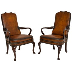 Pair of Antique Georgian Style Leather & Mahogany Armchairs