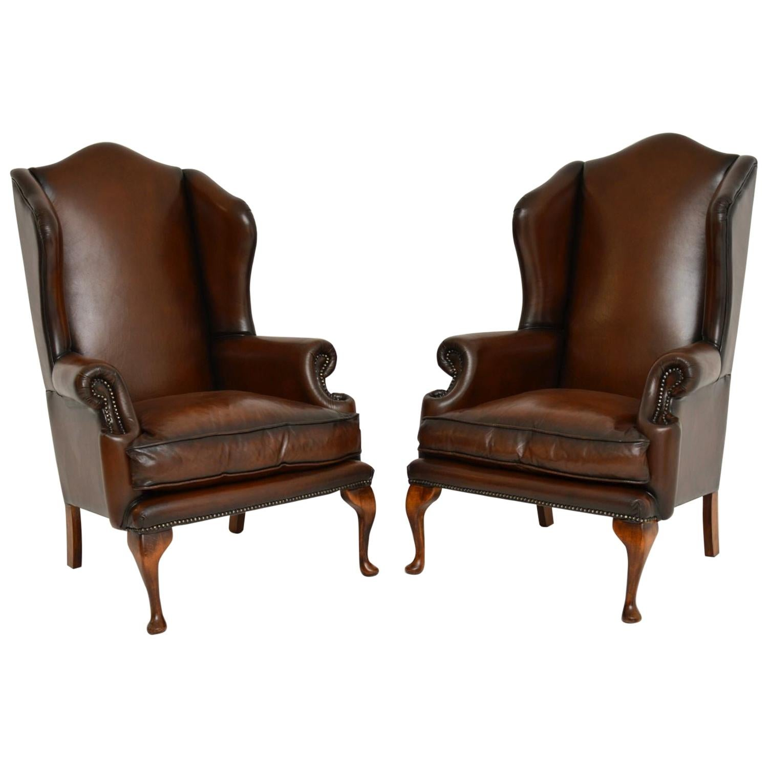 Pair of Antique Georgian Style Leather Wingback Armchairs