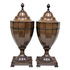 Pair of Antique Georgian Style Mahogany Knife Urns or Boxes
