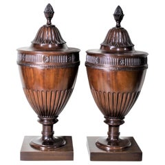 Pair of Antique Georgian Style Mahogany Knife Urns or Boxes with Carved Accents