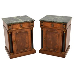 Pair of Antique Georgian Style Marble Top Bedside Cabinets