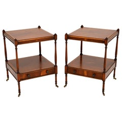 Pair of Antique Georgian Style Yew Wood Side Tables