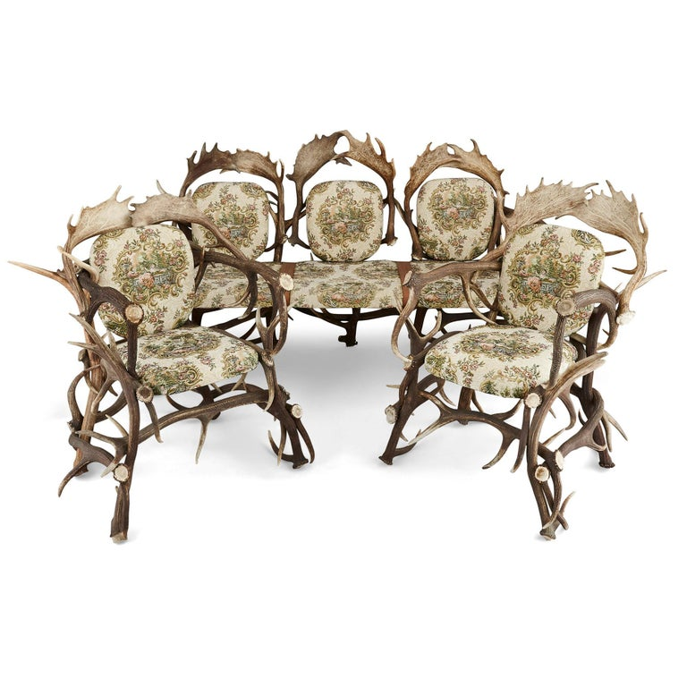 Pair of Antique German Antler Chairs with Rococo Style Upholstery For Sale 1