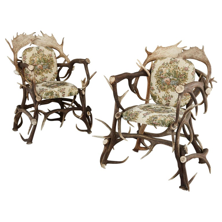 Pair of Antique German Antler Chairs with Rococo Style Upholstery For Sale