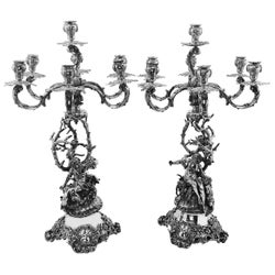 Pair of Antique German Heavy Silver Candelabra 6 / 7 Light Candleholders