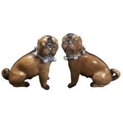 Paar antik deutsche Porzellan Mopshunde