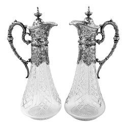 Pair of Antique German Silver and Cut Glass Claret Jugs Wine Decanters c 1890