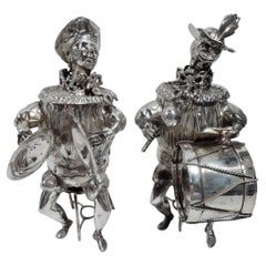 Pair of Antique German Silver Musician Bobble Boxes