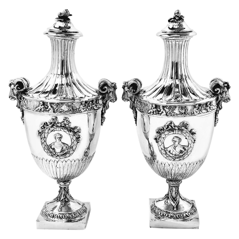 Pair of Antique German Silver Vases / Lidded Urns circa 1880 Hanau, Germany