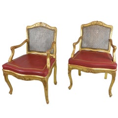 Pair of Antique Gilded Wood Regency Chairs with Red Leather Cushions