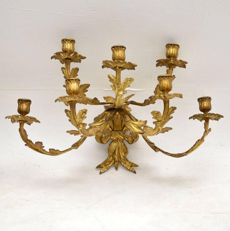 Pair Of Antique Gilt Bronze Wall Sconce Candelabra For Sale At 1stdibs