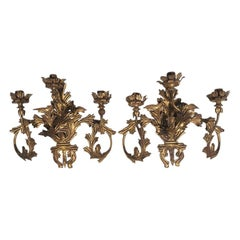 Pair of Antique Gilt Tole Applique 3-Arm Hard Wired Sconces, Italy