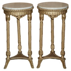 Pair of Antique Giltwood Marble Topped Jardiniere Plant Marble Bust Stands