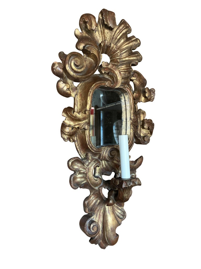 Rococo Pair of Antique Giltwood Mirror Sconces For Sale