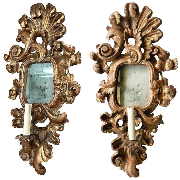 Pair of Antique Giltwood Mirror Sconces For Sale
