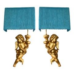 Pair of Antique Giltwood Sculpture Angel Appliques Turquoise Fringed Lampshades