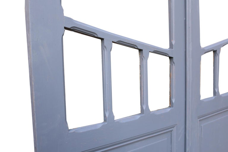 These beautiful pine double doors have been finished in grey primer and feature raised and fielded panels.  All hinges are present and the door is rebated.  Condition report  Doors are in good condition, the top frames are not glazed, however
