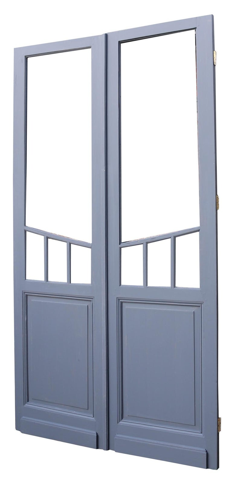 English Pair of Antique Glazed French Double Doors For Sale