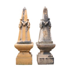 Pair of Antique Glazed Stoneware Obelisks