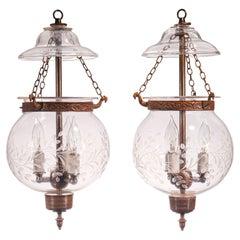 Pair of Antique Globe Bell Jar Lanterns with Vine Etching