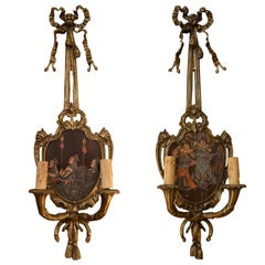 Pair of Antique Gold Bronze Sconces with Multicolored Chinoiserie Painted Panels