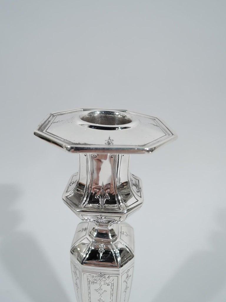 Regency Revival Pair of Antique Gorham Edwardian Regency Sterling Silver Candlesticks For Sale