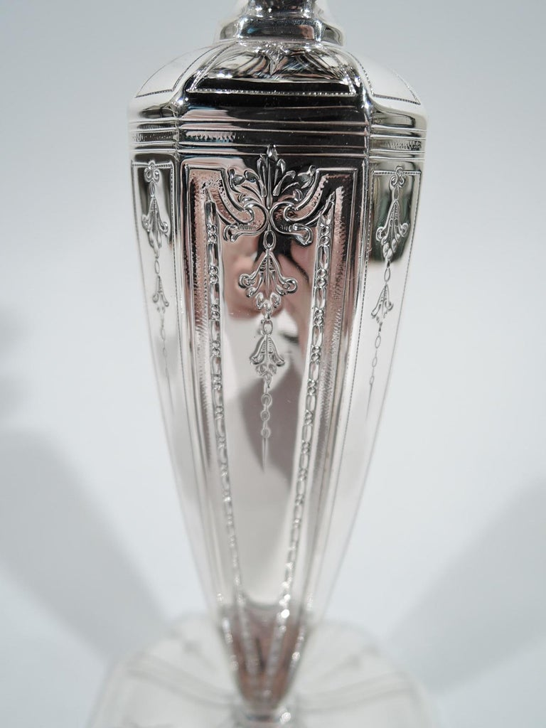 American Pair of Antique Gorham Edwardian Regency Sterling Silver Candlesticks For Sale
