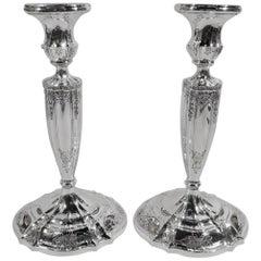 Pair of Antique Gorham Edwardian Regency Sterling Silver Candlesticks