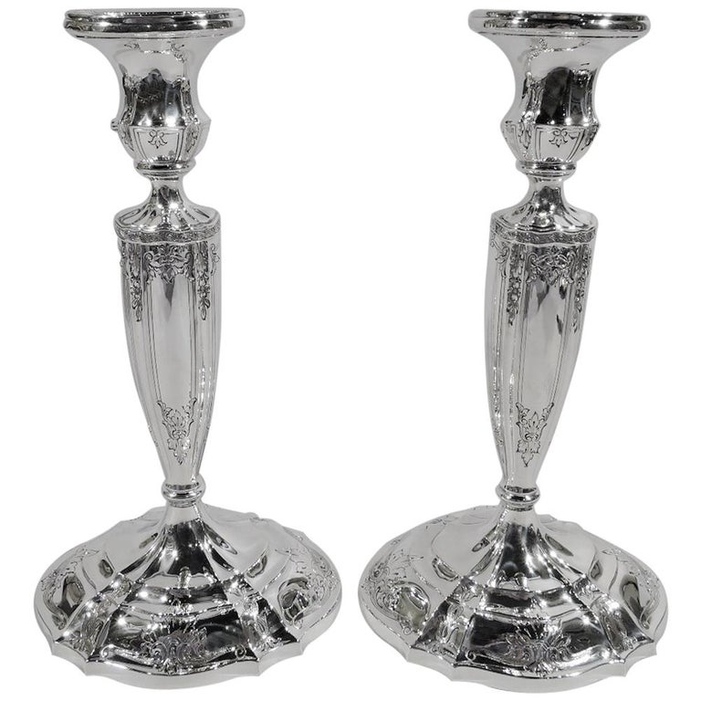 Pair of Antique Gorham Edwardian Regency Sterling Silver Candlesticks For Sale
