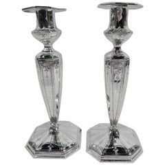 Pair of Antique Gorham Edwardian Regency Sterling Silver Candlesticks