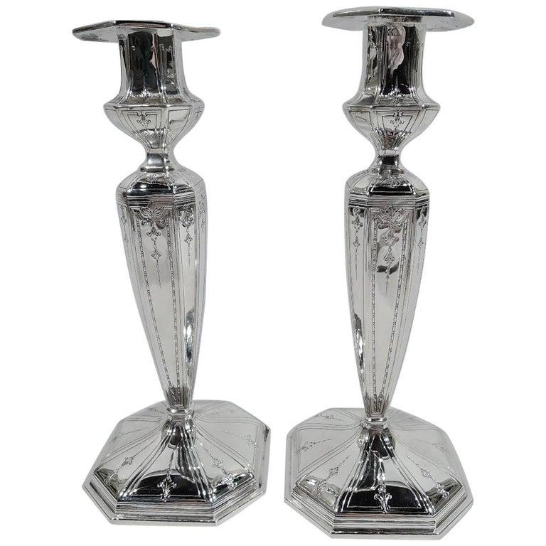 Pair of Antique Gorham Edwardian Regency Sterling Silver Candlesticks For Sale