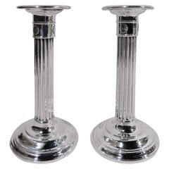 Pair of Antique Gorham Sterling Silver Classical Column Candlesticks