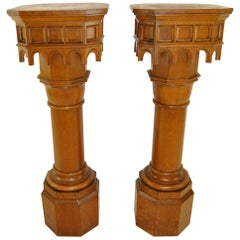 Pair of Antique Gothic Oak Pillars / Pedestals 53 1/2""