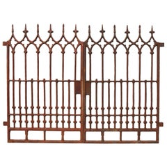 Pair of Antique Gothic Style Cast Iron Garden Gates