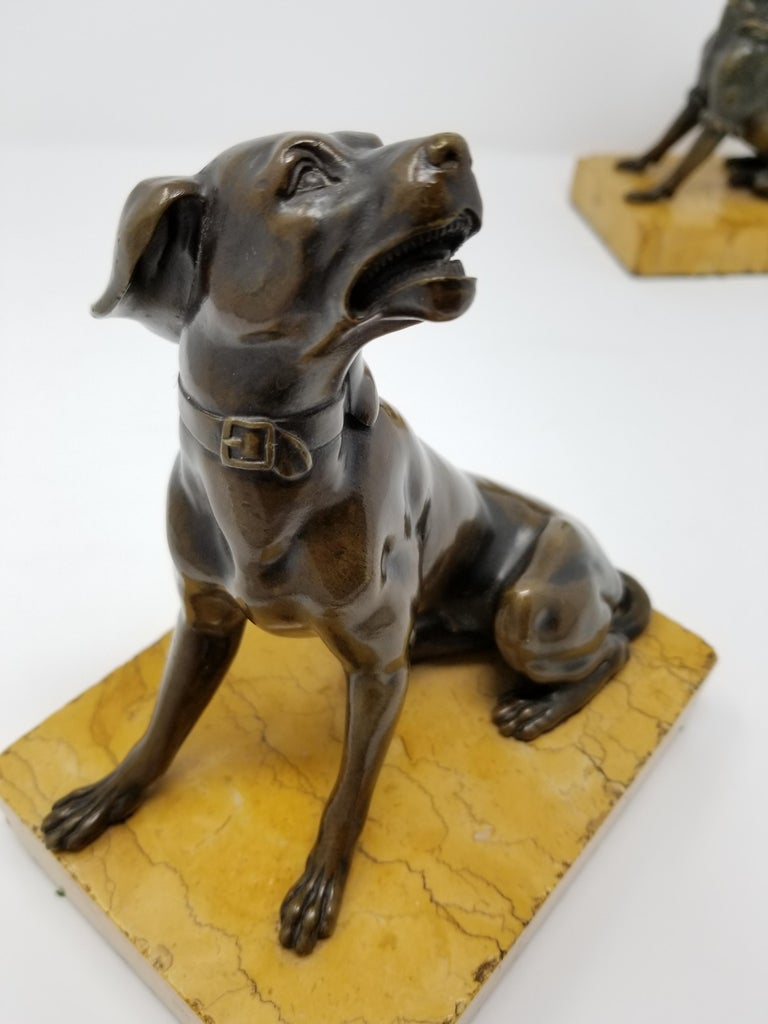 Late 19th Century Pair of Antique Grand Tour Patinated Bronze Dogs Seated on Sienna Marble Plinths For Sale