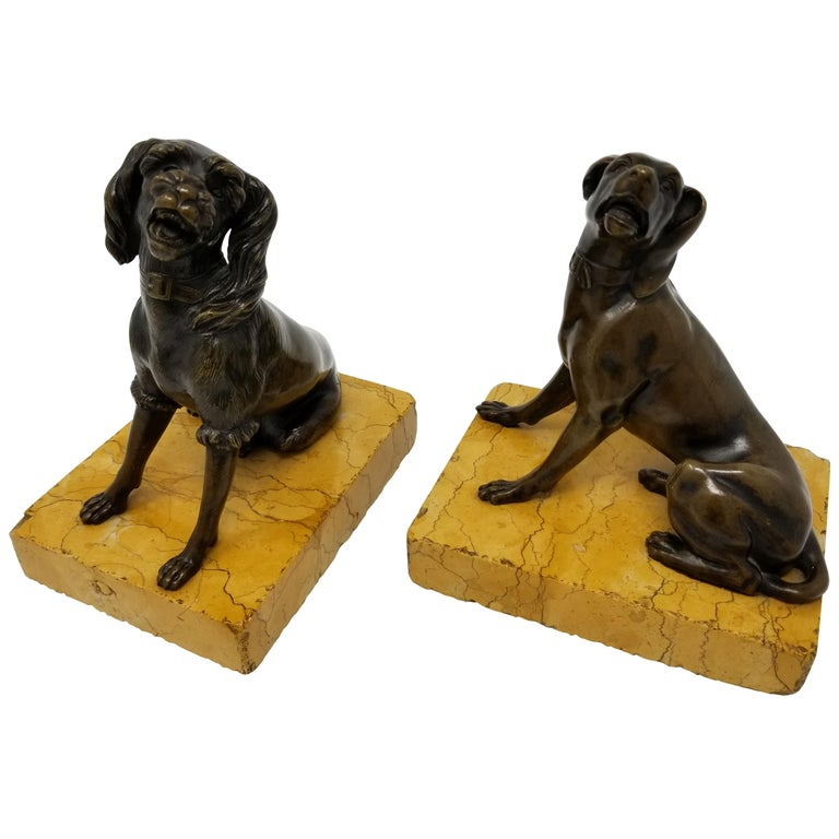 Pair of Antique Grand Tour Patinated Bronze Dogs Seated on Sienna Marble Plinths For Sale