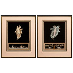 Pair of Antique Grand Tour Pompeian Pictures Attributed to Michelangelo Maestri