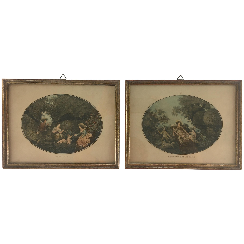 Pair of Antique Portrait Gravures Framed by E. Vandevoorde, Paris, France