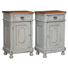 Pair of Antique Gray Painted Danish Nightstands