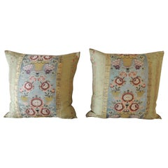 Pair of Antique Green and Gold Silk Square Decorative Pillows