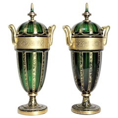 Pair of Antique Green Bohemian Covered Glass Urns with Heavy Gilt Decoration