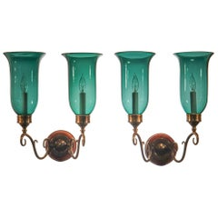 Pair of Antique Green Hurricane Shade Double Arm Wall Sconces