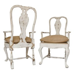 Pair of Antique Gustavian Painted Armchairs