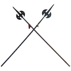 Pair of Antique Halberds Spears English Medieval Renaissance Wall Decoration