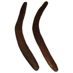 Pair of 19th Century Antique Hand Carved Aboriginal Wooden Boomerangs