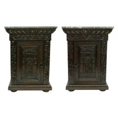 Pair of Antique Hand Carved Oak Night Stands