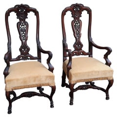 Pair of Antique Hand Carved Walnut English Armchairs