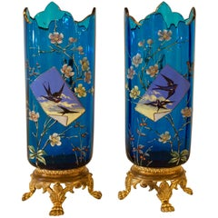 Pair of Antique Hand Enameled Art Glass Vases, circa 1910